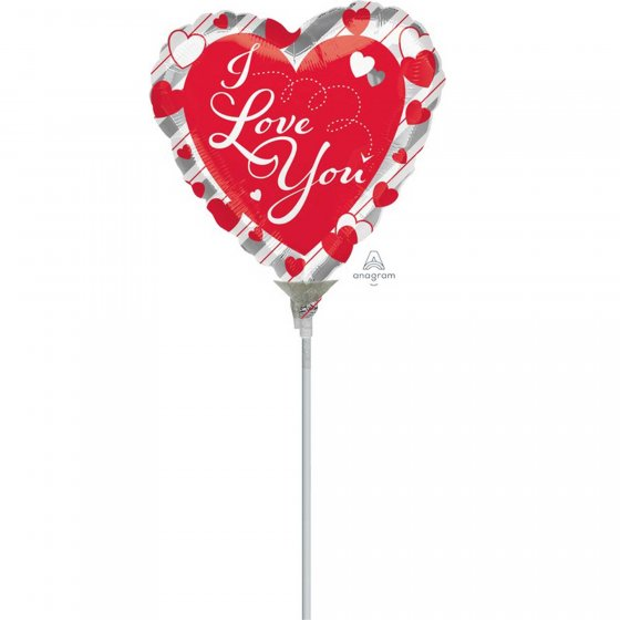 10cm I Love You Red Hearts & Silver Stripes Foil Balloon. Requires Air Inflation & Heat Sealing. Non Self-Sealing Valve
