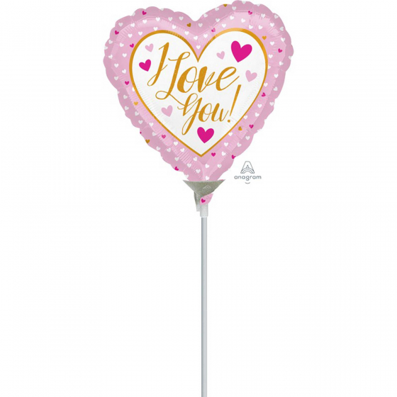 10cm I Love You Gold & Pink Foil Balloon. Requires Air Inflation & Heat Sealing. Non Self-Sealing Valve