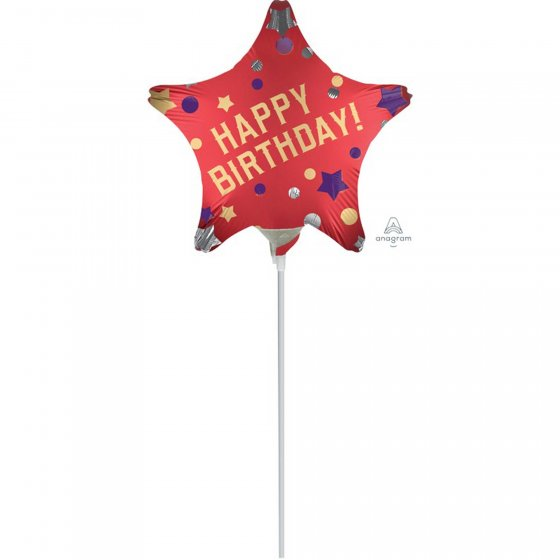 22cm Red Satin Party Foil Balloon. Requires Air Inflation & Heat Sealing. Non Self-Sealing Valve