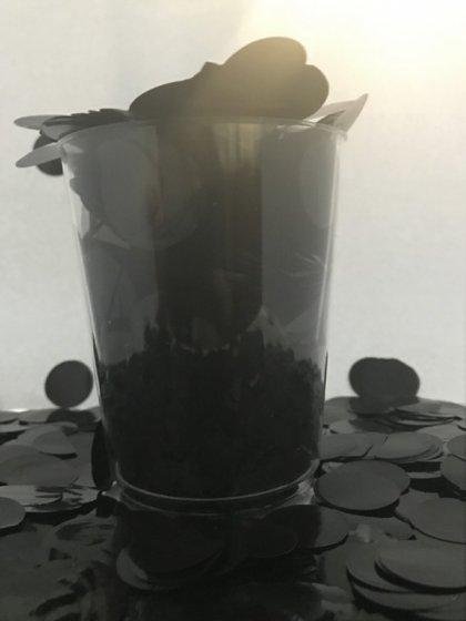 Confetti Black Metallic Circles 2cm Round 200g Foil