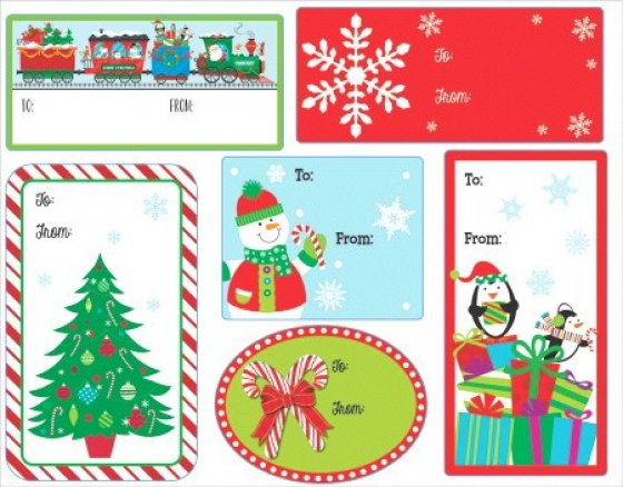 Christmas Gift Tags Adhesive Labels  Assorted Designs & Sizes Paper Sheet Sizes 11cm x 14cm