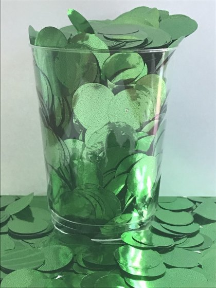 Confetti Green Metallic Circles 2cm Round 200g Foil