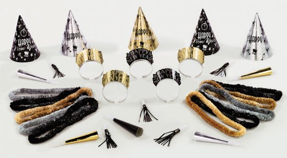 New Year's Midnight Party Pack Kit for 10 People. Contains: 5 x Foil Cone Shaped Hats 5 x Glitter Tiara's 10 x Poly Leis 5 x Foil Horns & 5 x Foil Squawkers
