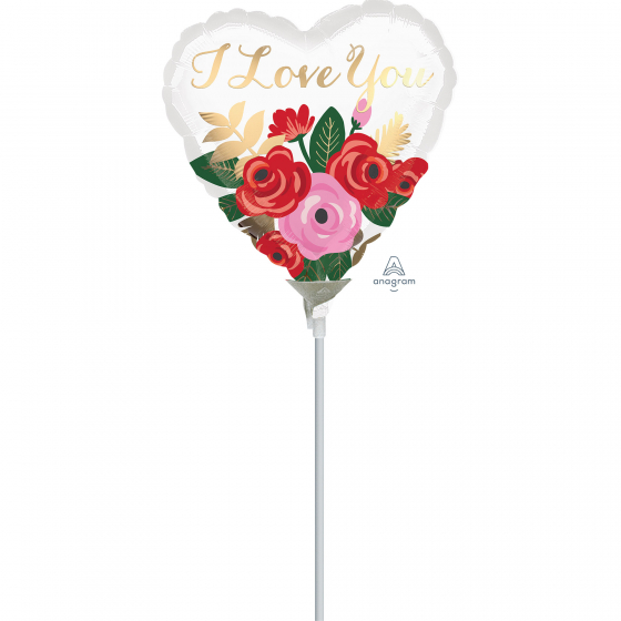 10cm Foil Balloon I Love You Rose Bouquet Foil Balloon. Requires Air Inflation & Heat Sealing. Non Self-Sealing Valve
