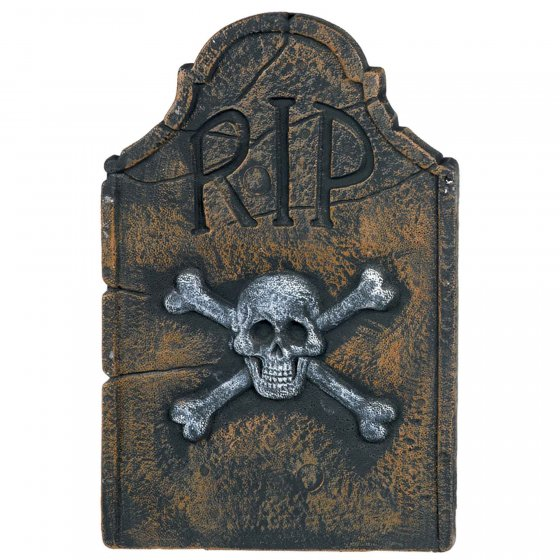 Skull & Crossbones R.I.P Decoration Styrofoam Tombstone Decoration 55cm & Stakes included to put in the ground