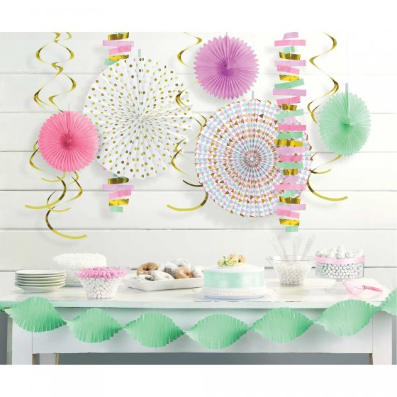Pastel Decorating Kit - Paper & Foil Contains: 1 Crepe Garland 9' x 4 1/2in (2.7m x 11.4cm). 2 Foil & Plastic String Garlands 7'(2.1m). 6 Foil Swirls 22in(55.8cm). 3 Tissue Fans 8in(20.3cm). 2 Hot-Stamped Paper Fans 16in(40.6cm).