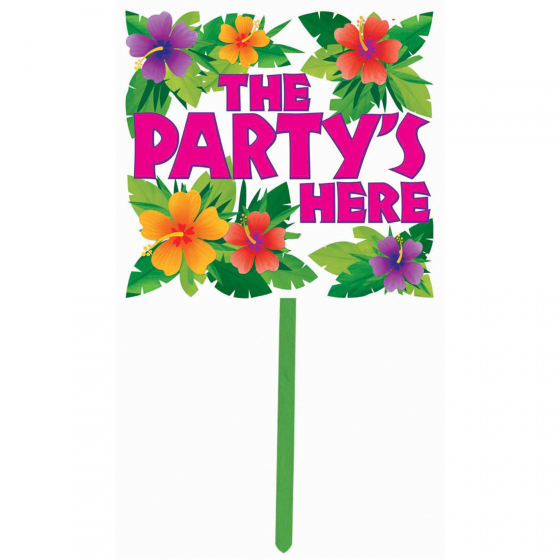 Summer Luau Plastic Yard Sign The Party's Here Sign. 14in x 15in (35cm x 38cm)