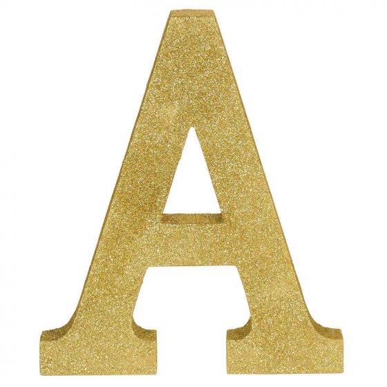 Letter A Gold Glittered Decoration MDF 22cm High 18cm Wide & 2.5cm Deep