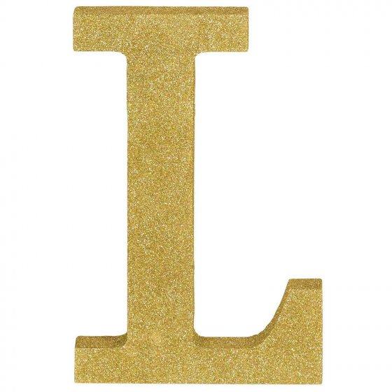 Letter L Gold Glittered Decoration MDF 22cm High 18cm Wide & 2.5cm Deep