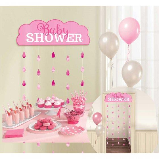 Baby Shower Pink Door Curtain 66in x 39in (1.67m x 99cm)