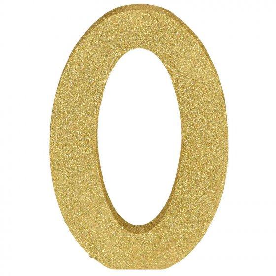 Number 0 Gold Glittered Decoration MDF 22cm High 18cm Wide & 2.5cm Deep