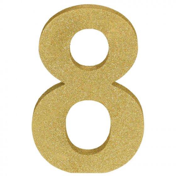 Number 8 Gold Glittered Decoration MDF 22cm High 18cm Wide & 2.5cm Deep