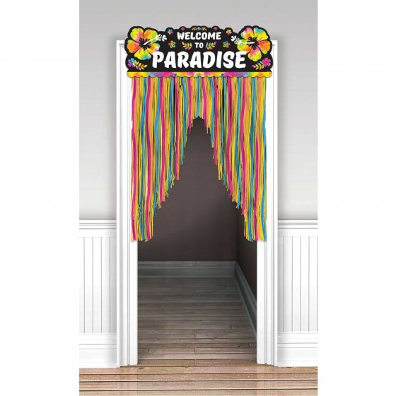 Summer Luau Welcome To Paradise Neon Door Curtain Cardboard Header & Plastic Fringe. 96cm x 137cm
