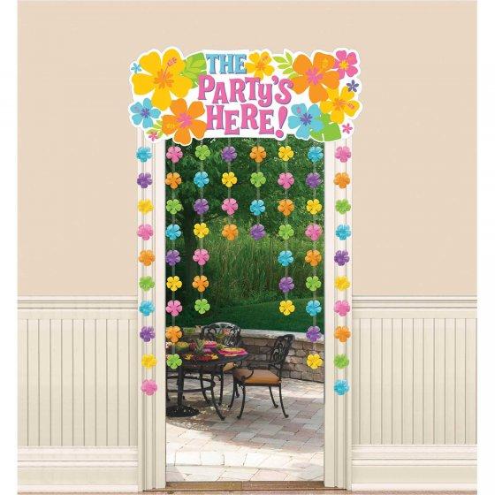 Summer Luau Hibiscus Door Curtain Door Curtain The Party's Here 137cm x 96cm