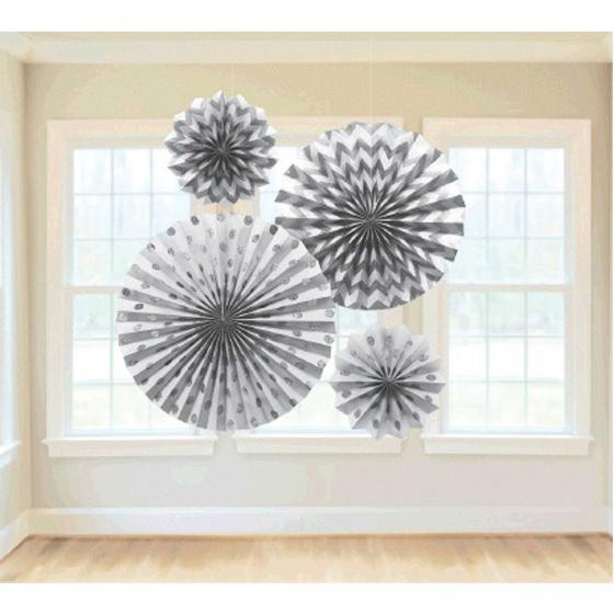 Paper Fans Glitter Hanging Decorations - Silver Contains 2 x 20cm Fans 1 x 30cm Fan & 1 x 40cm Fan