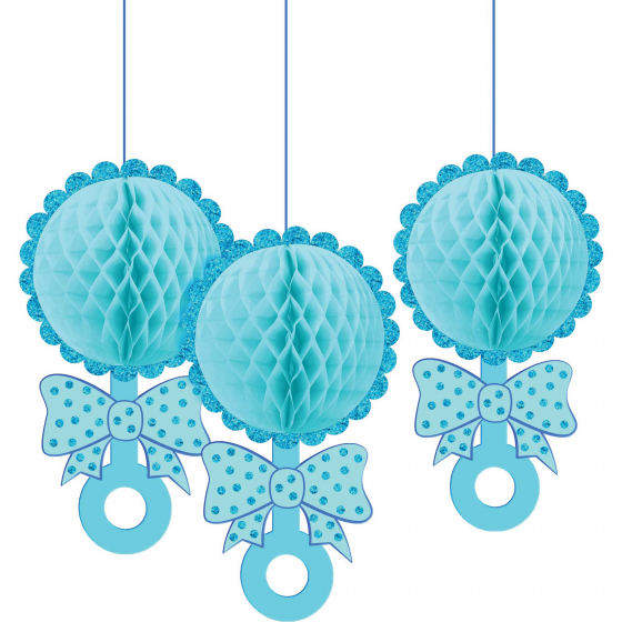 Baby Shower Blue Honeycomb Decorations Glittered Rattles Hanging Decorations. 30cm x 16cm