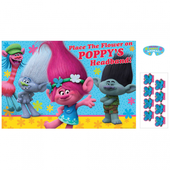 Trolls Party Game Contains 1 x Paper Game 24 1/2in x 37 1/2in (62cm x 95cm) 8 x Stickers & 1 x Paper Blindfold