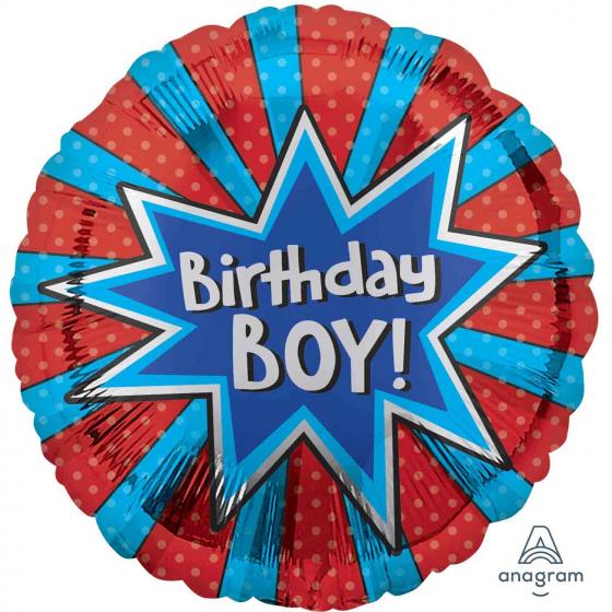 45cm Foil Balloon Birthday Boy Burst Self Sealing Foil Balloon