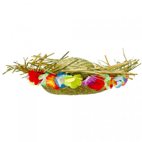 Straw Hat & Fabric Floral Trim