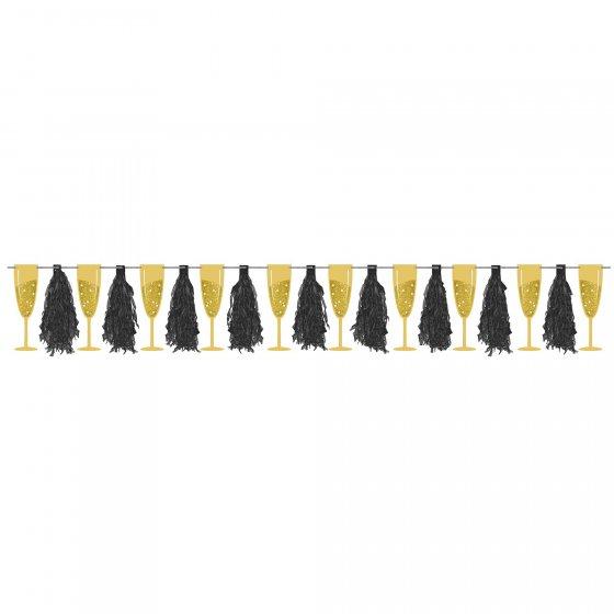 Champagne Glittered Gold & Silver Glasses & Black Tassels Ribbon Banner Cardboard & Paper 23cm x 3.35m