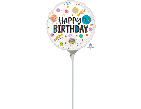 22cm Smiling Galaxy Happy Birthday Foil Balloon. Requires Air Inflation & Heat Sealing. Non Self-Sealing Valve