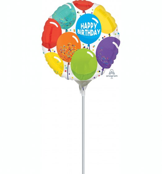 22cm Happy Birthday Celebration Balloons Foil Balloon. Requires Air Inflation & Heat Sealing. Non Self-Sealing Valve