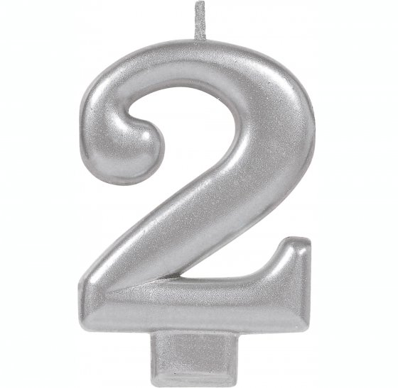 #2 Silver Metallic Numeral Moulded Candle 8cm