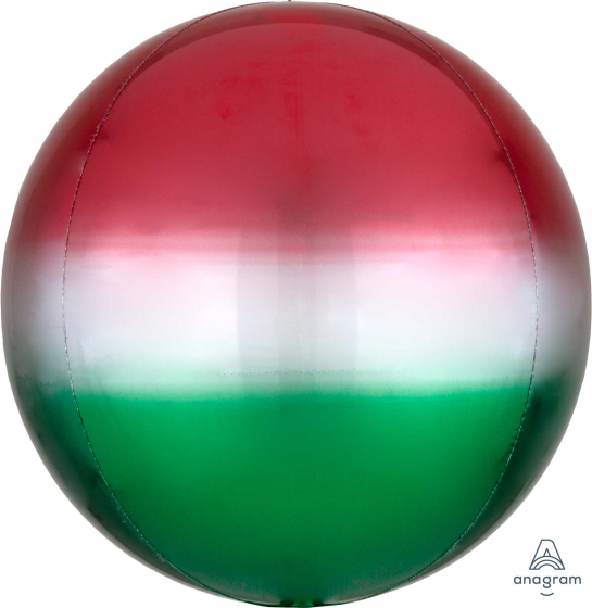 Orbz Ombre Red & Green 38cm x 40cm Self Sealing Foil Balloon