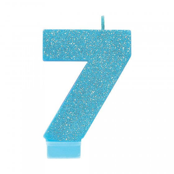 #7 Blue Glitter Numeral Candle 8cm