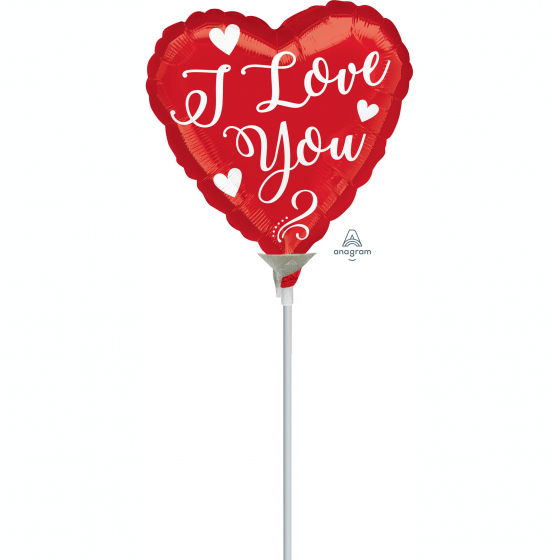 10cm I Love You White Script Foil Balloon. Requires Air Inflation & Heat Sealing. Non Self-Sealing Valve