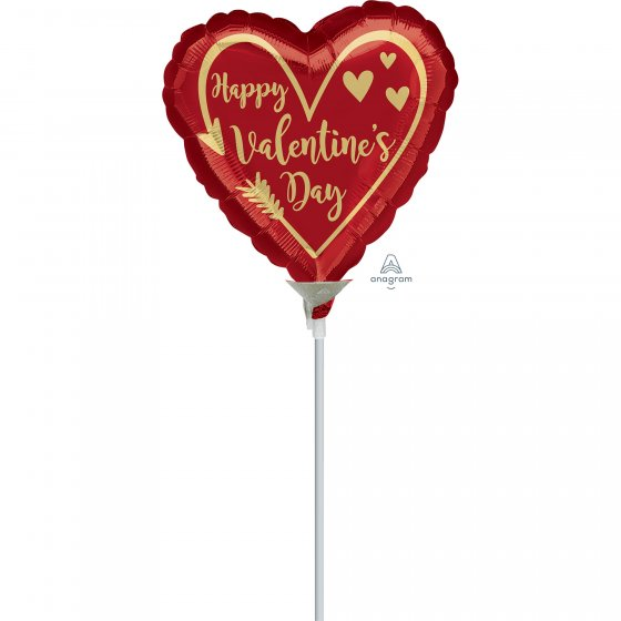 10cm Happy Valentine's Day Arrow Heart Foil Balloon. Requires Air Inflation & Heat Sealing. Non Self-Sealing Valve