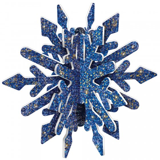 Snowflake Blue & Gold Glittered MDF 3D Decoration 22cm