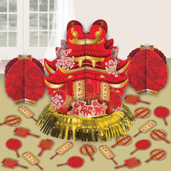 Chinese New Year Table Decorating Kit Foil Hot Stamped Cardboard & Foil Contains: 1 x 32cm Centrepiece 2 x 18cm Centrepieces & 20 x 5cm Confetti Pieces