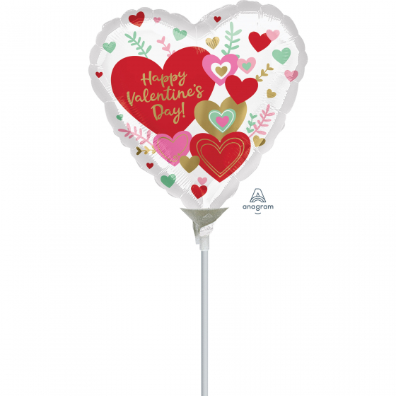 10cm Happy Valentine's Day Wishes Foil Balloon. Requires Air Inflation & Heat Sealing. Non Self-Sealing Valve