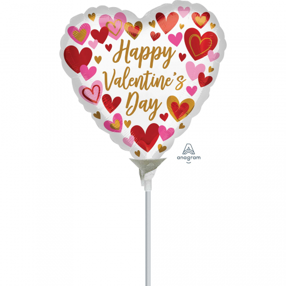 10cm Happy Valentine's Day Playful Hearts Foil Balloon. Requires Air Inflation & Heat Sealing. Non Self-Sealing Valve