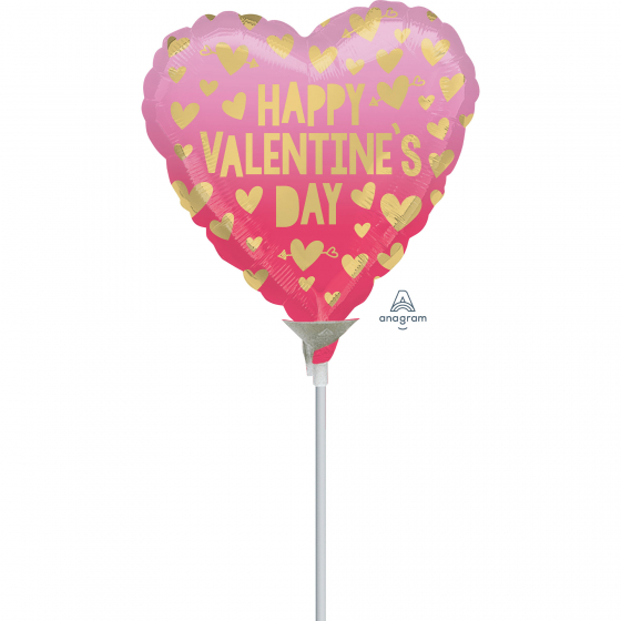 10cm Happy Valentine's Day Pink Ombre Foil Balloon. Requires Air Inflation & Heat Sealing. Non Self-Sealing Valve