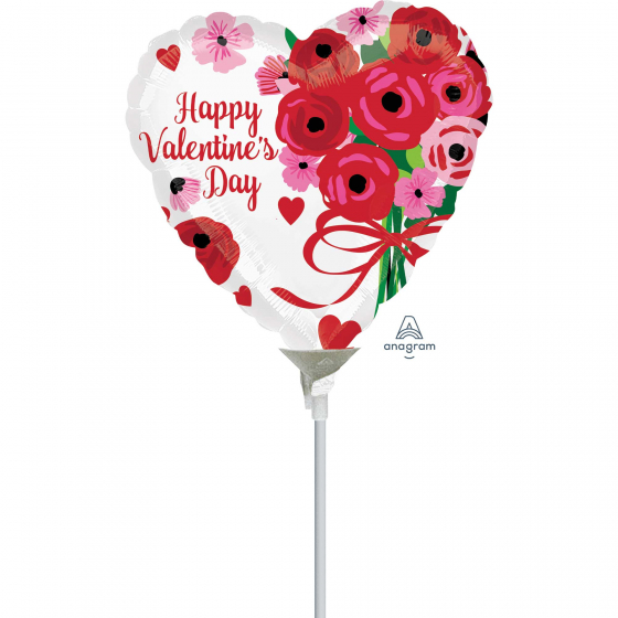 10cm Happy Valentine's Day Lovely Roses Foil Balloon. Requires Air Inflation & Heat Sealing. Non Self-Sealing Valve