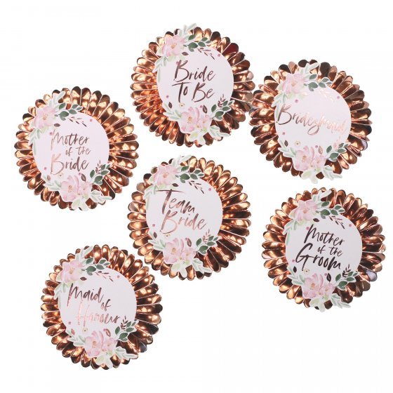 Floral Hen Party Pin Badges With Stickers 6 x pin badges and 12 x assorted rose gold floral stickers: 4 x Team Bride 4 x Bridesmaid 1 x Mother of The Bride 1 x Mother of The Groom 1 x Maid of Honour 1 x Bride To Be. Badges measure: 9cm Dia