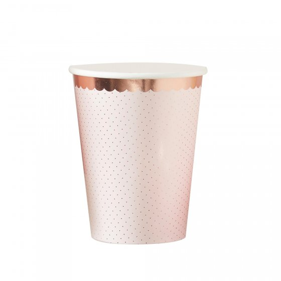 Ditsy Floral Paper Cups Polka Dot Rose Gold 8 paper cups. Each cup holds 266ml and measures 7.5cm W x 9cm H