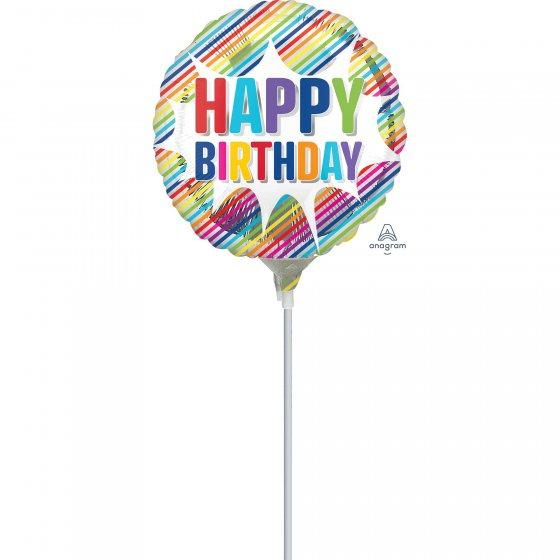 22cm Happy Birthday Striped Burst Foil Balloon. Requires Air Inflation & Heat Sealing. Non Self-Sealing Valve