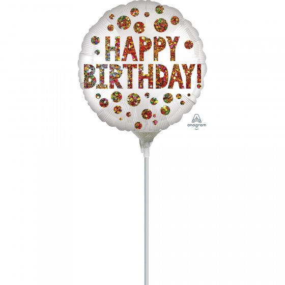 22cm Satin Infused Happy Birthday Sequins Foil Balloon. Requires Air Inflation & Heat Sealing. Non Self-Sealing Valve