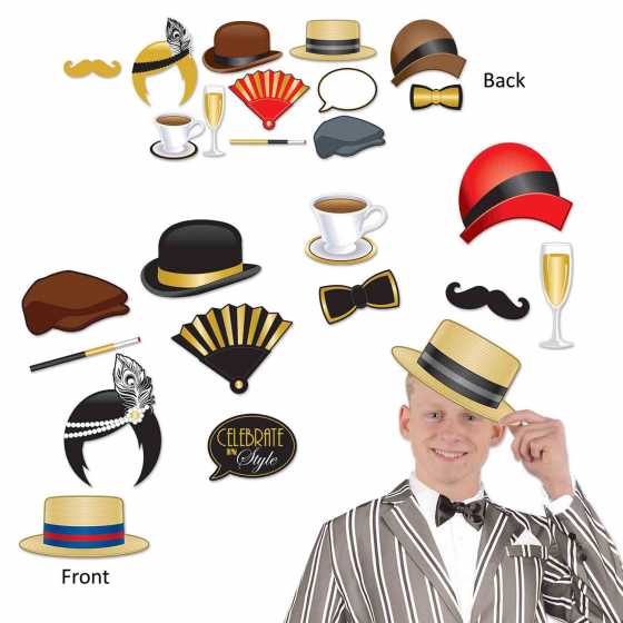 Great 20's Photo Booth Props Fun Signs Cardboard Designs Printed Both Sides & Assorted Sizes 16cm to 28cm