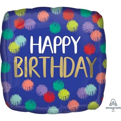 45cm Brushed Happy Birthday Foil Balloon