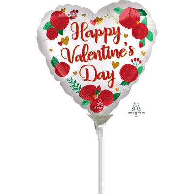 10cm Happy Valentine's Day Satin Infused Roses Foil Balloon