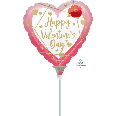 10cm Happy Valentine's Day Faceted Heart Foil Balloon