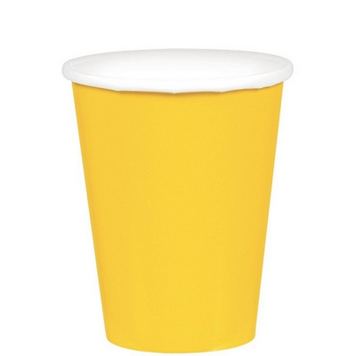 266ml Cups Paper 20 Pack - Yellow Sunshine